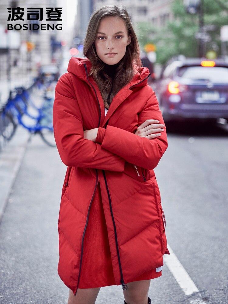 Abrigo de invierno grueso para mujer de BOSIDENG, parkas largas, con capucha, grueso, impermeable, chaqueta de plumas para mujer B90141018V
