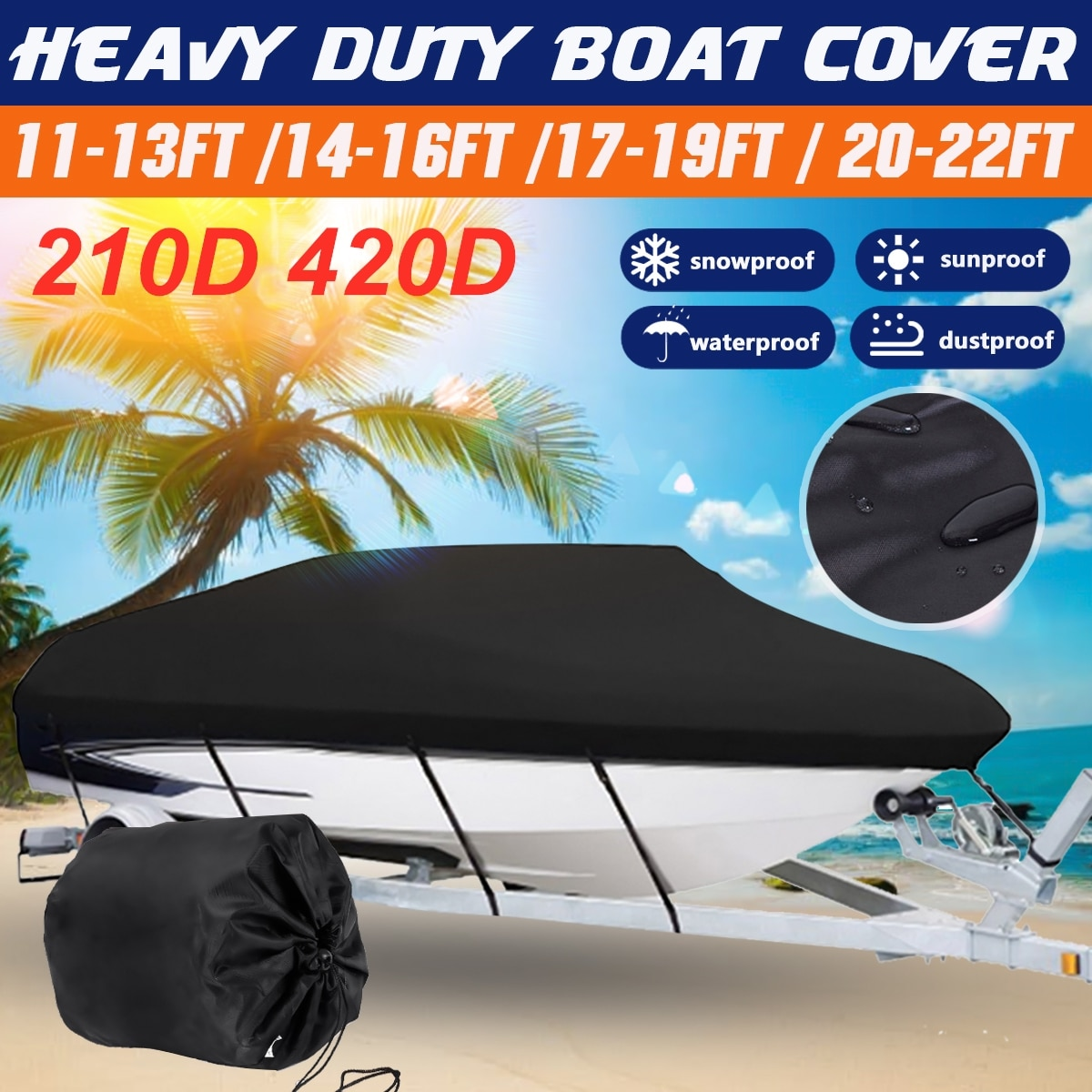 11-13/14-16/17-19/20-22ft barco Boat Cover Anti-UV Waterproof Heavy Duty 210D 420D Marine Trailerable Canvas Boat Accessories