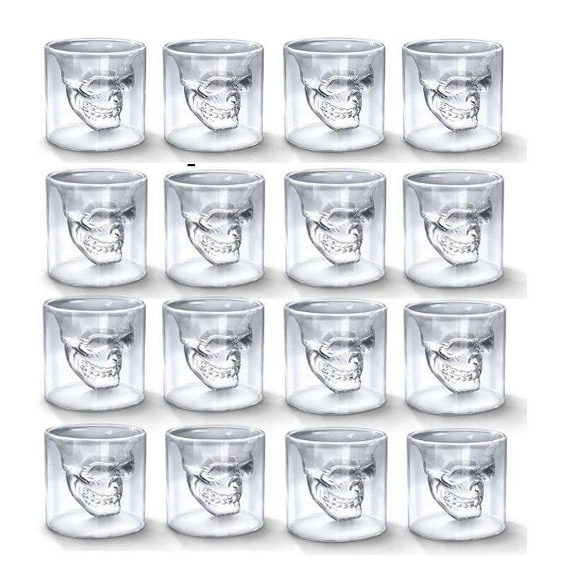 Copa de cristal transparente con cabeza de calavera de 25ML para dos formas de whisky, vino, té y café, Vodka Bar Club, cerveza, copas de vino