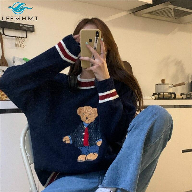 Women Japan Style Fall Cartoon Bear Embroidery Pullover Knitting Sweater Female Casual Warm Harajuku Sweet Kawaii Winter Clothes