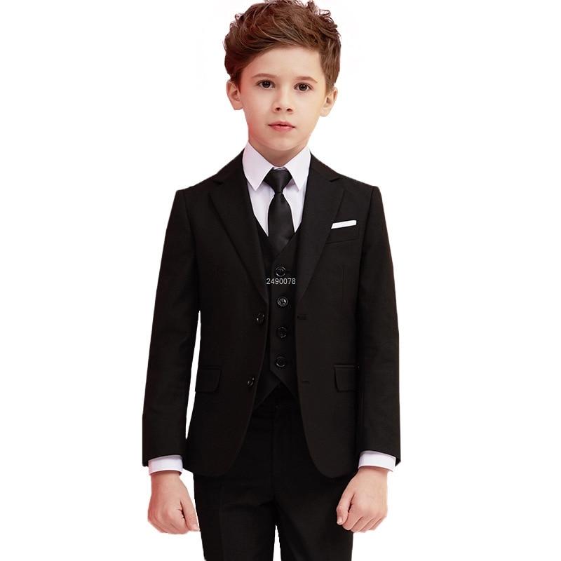 الأولاد الأسود 007 بدلة الزفاف الاطفال الرسمية السترة الملابس مجموعة شهم الأطفال يوم التخرج جوقة الأداء زي