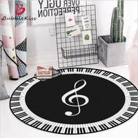 Модный коврик для гостиной, черно-белый, с музыкальным рисунком, нескользящий круглый ковер, коврики для детской комнаты