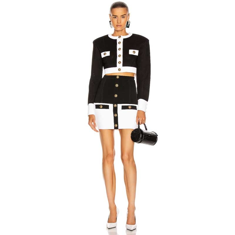 Free Shipping New Black White Mixed colors Long sleeve Coat Top&Skirt Fashion Sexy Two-Piece Suit Celebrity Beach Party Sets