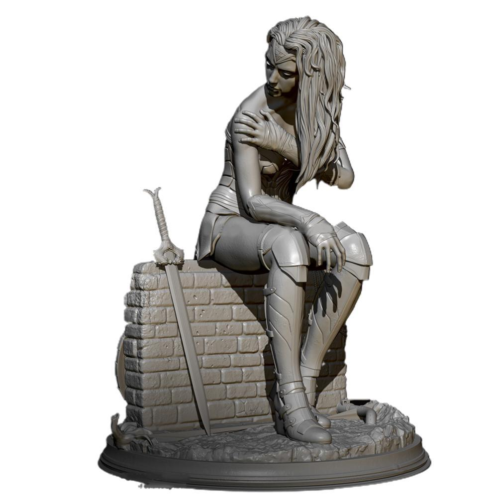 H75мм, 1/24, богиня печаль, смола, солдат, белая модель, ручная роспись, статическая модель «сделай сам» 2708, модель I1D7