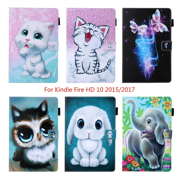 Funda para Amazon Kindle Fire HD10 2015 2017 con diseño de gato y mariposa, Funda de cuero para Tablet Kindle Fire HD 10 2017, funda de 10,1 pulgadas