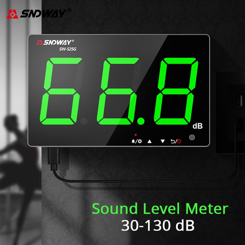 Sndway Wall-mounted Sound Level Meter 30-130 db Noise Green Light Digital USB Charging Measuring Decibel Monitoring
