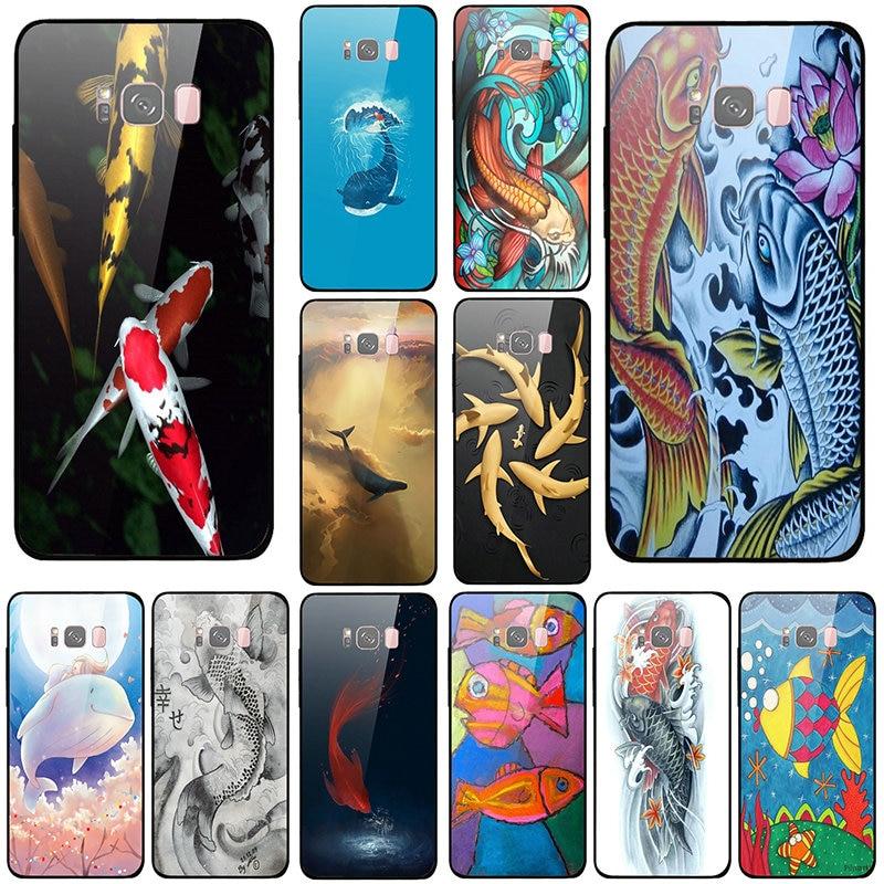 Fundas de teléfono móvil de vidrio templado para Samsung Galaxy A6 A8 A8S A9S S8 S9 S10 Lite Plus bolsas de concha Koi Fish arte japonés