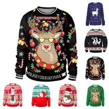 Уродливый Рождественский свитер снеговик для подарка Санта олень пуловер женские мужские 3D майки и свитера Топы Осень Зима Одежда