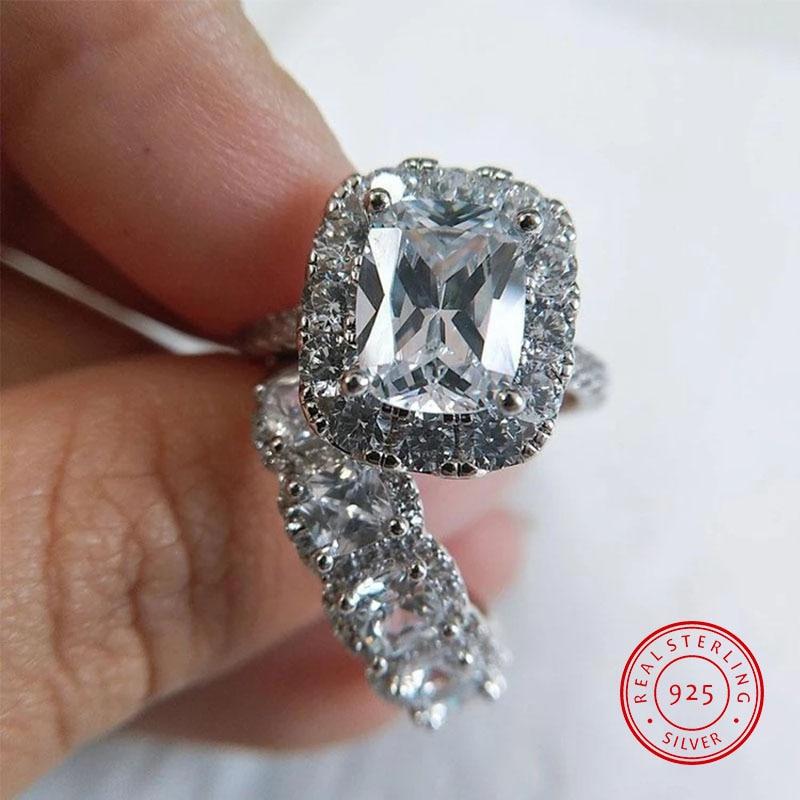 Un par de 925 anillos de plata esterlina de circonita de cristal A la moda para Mujeres Hombres pareja compromiso Boda REGALOS del anillo de lujo para mujeres