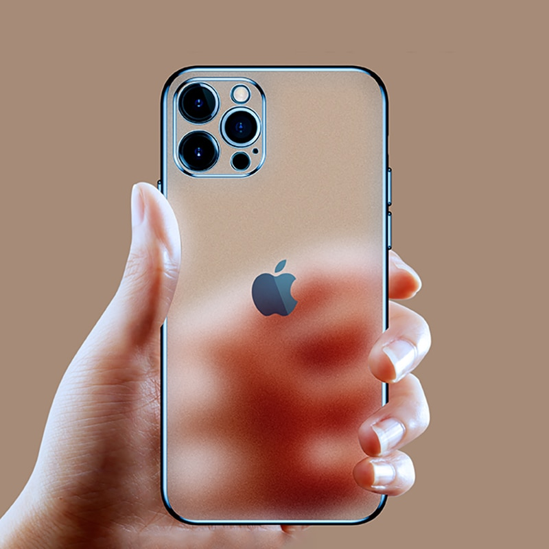 Luxury Square Frame Plating Clear Phone Case For iPhone 11 12Pro Max Mini X XR XS 7 8 Plus SE 2 2020
