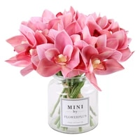 simulation feel cymbidium a small bunch of flowers 6 sticks flower home living room table decoration fake flower ornaments