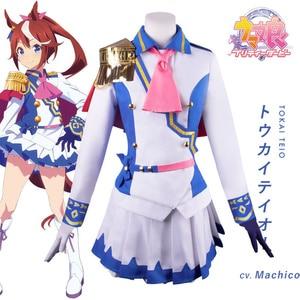 Game Anime Comic Pretty Derby Tokai Teio Cosplay Costumes Special Week COS Clothes Women JK Uniform Navy cute dress Halloween
