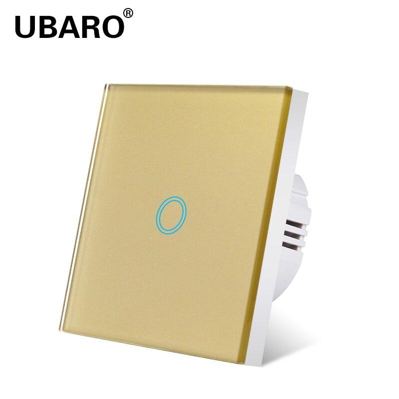 UBARO cristal verre interrupteur tactile capteur puissance mur or Standard-peu profond AC 220 mur tactile interrupteur