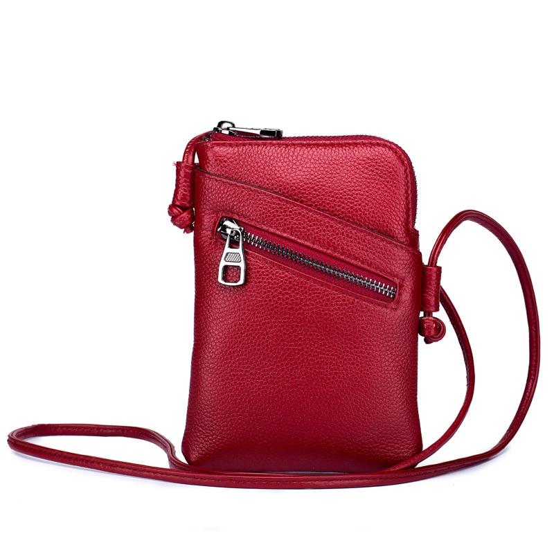 Genuine leather mobile phone bag wallet female messenger bag mini bag 2020 new all-match leather vertical female bag