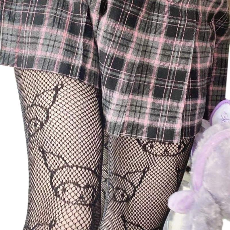 Japanese Anime Lolita Pantyhose Cartoon Devil Pattern Jacquard Tights Gothic Women Hollow Out Mesh Fishnet Stockings black floral pattern jacquard pantyhose stockings