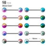 10pcs mixed color acrylic ball tongue rings for women 316l surgical steel tongue piercing jewelry tongue ring bars barbell 14g