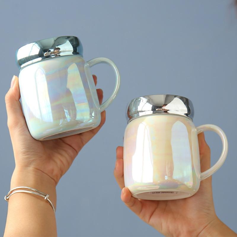 كوب الإبداعية شخصية الاتجاه القدح جميل السيراميك كوب ماء فتاة عشاق قدح للمكتب مع غطاء القهوة القدح