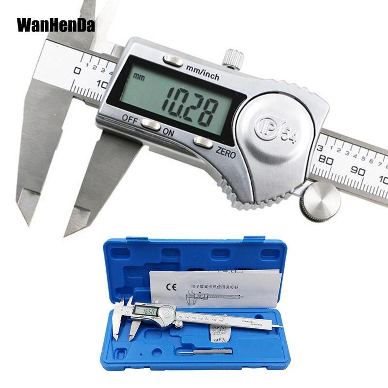 Pinça de aço inoxidável 0-150mm fração/mm/Polegada lcd eletrônico vernier caliper ip54 pinças impermeáveis
