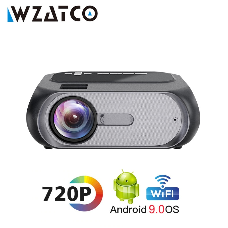 WZATCO-miniproyector portátil inteligente B7, con Android 9,0, Wifi, LED, Full HD, 1080p,...