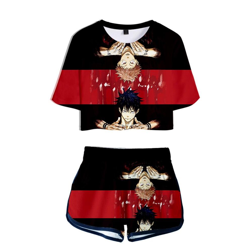 تي شيرت وشورت نسائي ثلاثي الأبعاد ، ملابس الشارع غير الرسمية ، أنيمي jujutsu kaisen ، قطعتين ، مجموعة صيفية جديدة