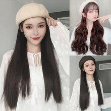 MUMUPI Lange Gerade/Wellenförmige Hut Perücke Schwarz Braun Mehrfarbig Perücke und Hut Natürliche Verbindung Synthetische Haar Weibliche Haar Verlängerung