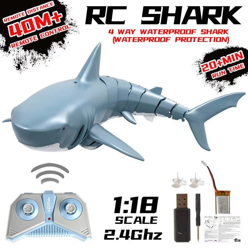 1:18 2.4G Simulation Remote Control Shark Boat Waterproof Rechargeable Battery Toy For Swimming Pool Bathroom Toy