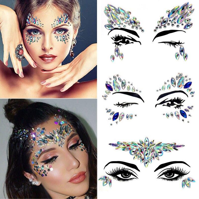 Сделай Сам, для бровей, для лица, для боди-арта, с кристаллами и блестками, украшения для рождественской вечеринки, для глаз, для Русалочки, наклейки для татуировки, для макияжа, Рождественский Декор