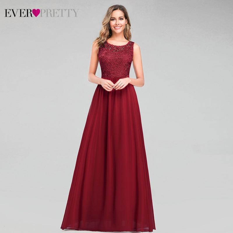 Elegante borgonha vestidos de noite para as mulheres sempre bonito a linha o pescoço sem mangas rendas formal vestidos de festa longo 2020