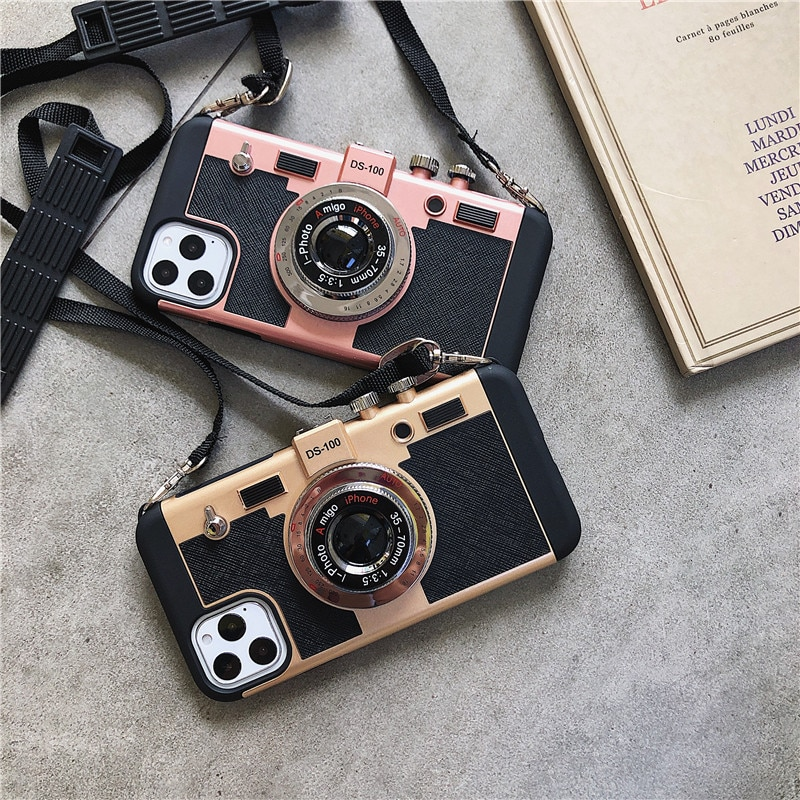Camera Phone Cases For iPhone 11 12 Pro XS Max X XR SEShockproof Lanyard Retro Fitted Back Cover For iPhone 7 8 Plus 6 6s Cases