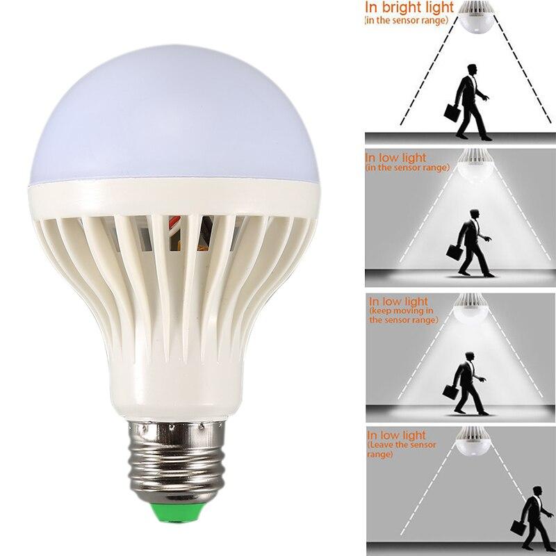 Lámpara Led de 9W con Control de luz y sonido, bombilla Led de 220V E27 con Sensor de movimiento y luz, iluminación para el hogar y las escaleras