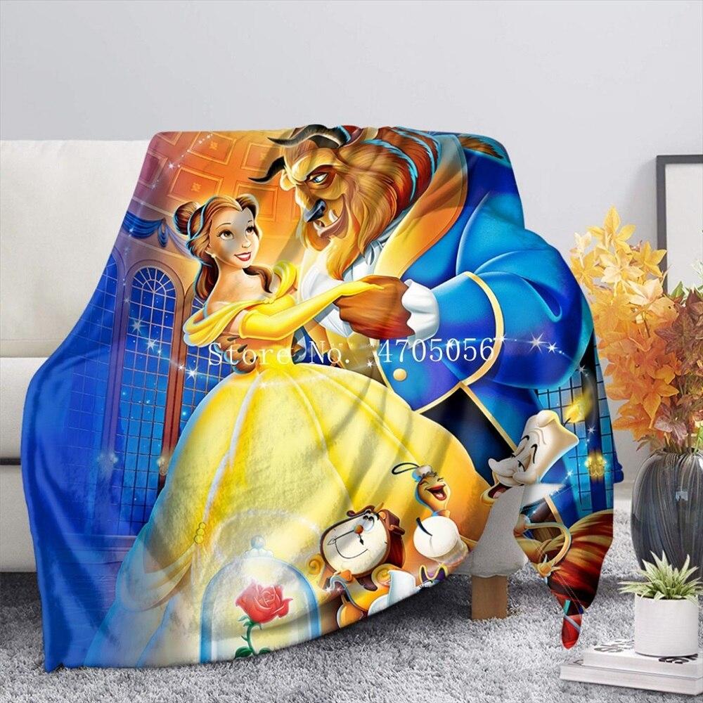 ديزني الجمال والوحش متشابكة رابونزيل الأميرة أريكة غطاء النوم ملاءات السرير رمي بطانية للأطفال ديكور غرفة نوم