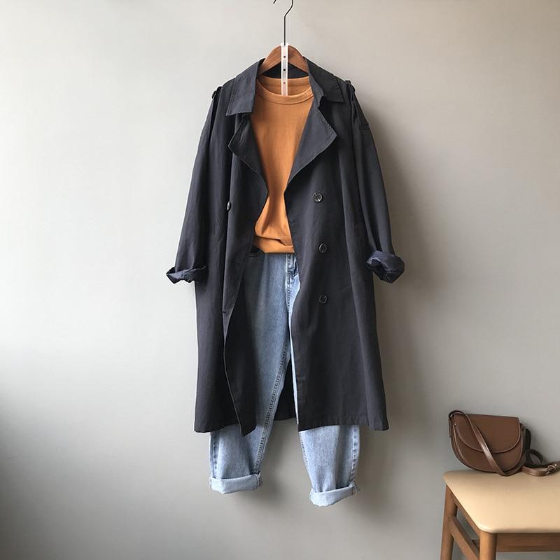 women trench coat spring loose long windbreaker coat 0997#