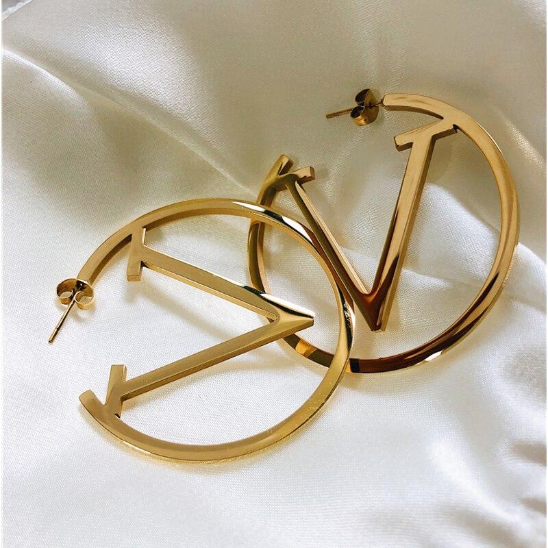 Pendientes de aro de oro de acero inoxidable para mujer Simple Punk moda oro plata regalo para la oreja joyería de fiesta
