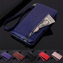 Pochette portefeuille en cuir à glissière pour Samsung Galaxy A70 A50 A40 A30 A20 A10 A40s M30 M20 M10