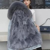 2020 new fashion winter womens real fur coats plus size hat parkas detachable fur liner middle long female jackets casual