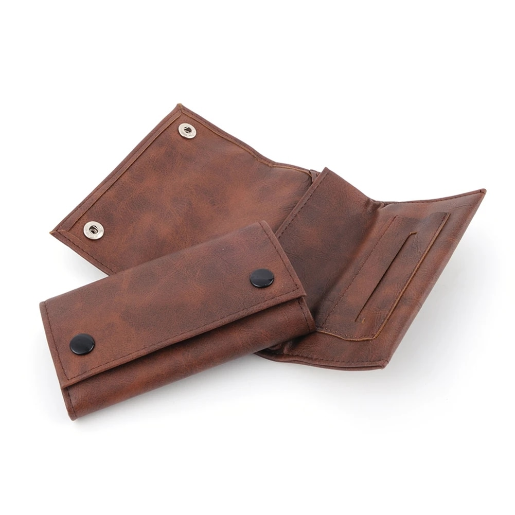 Portable Leather Cigarette Bag Tobacco Herb Pouch Case Bags Pouch Zipper Buckle Rolling Paper Smoking Accessories Storage Bags недорого