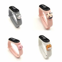 Silicone Kids Watches For Boys Girls Students Digital Children's Watch Square LED Cartoon Electronic