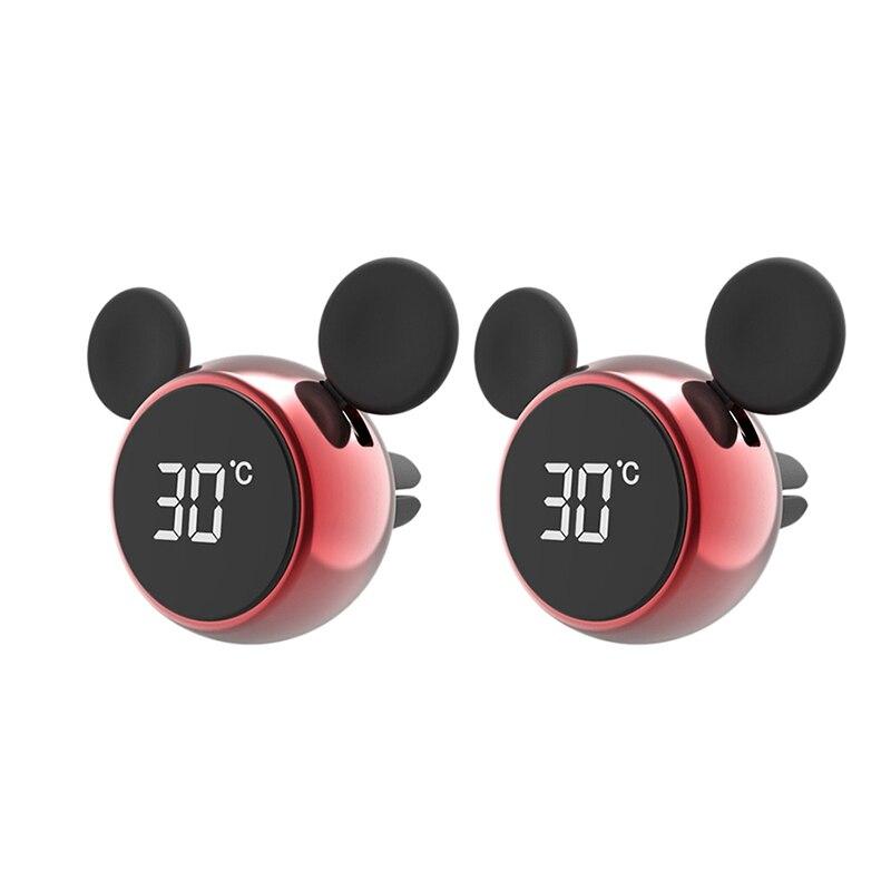 Reloj Digital LCD portátil para coche/Pantalla de temperatura reloj electrónico termómetro aromaterapia accesorios para coche rojo 2 uds