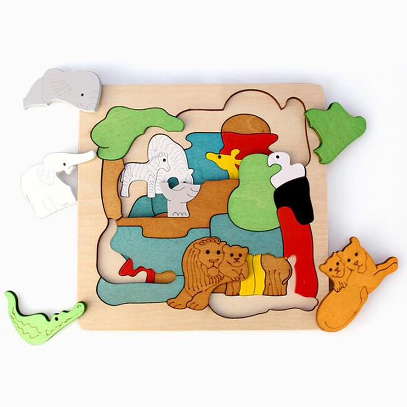 Intelligence Kids Toy Wooden 3D Puzzle Multilayer Jigsaw Puzzle Baby Toys Child Creative Early Educa