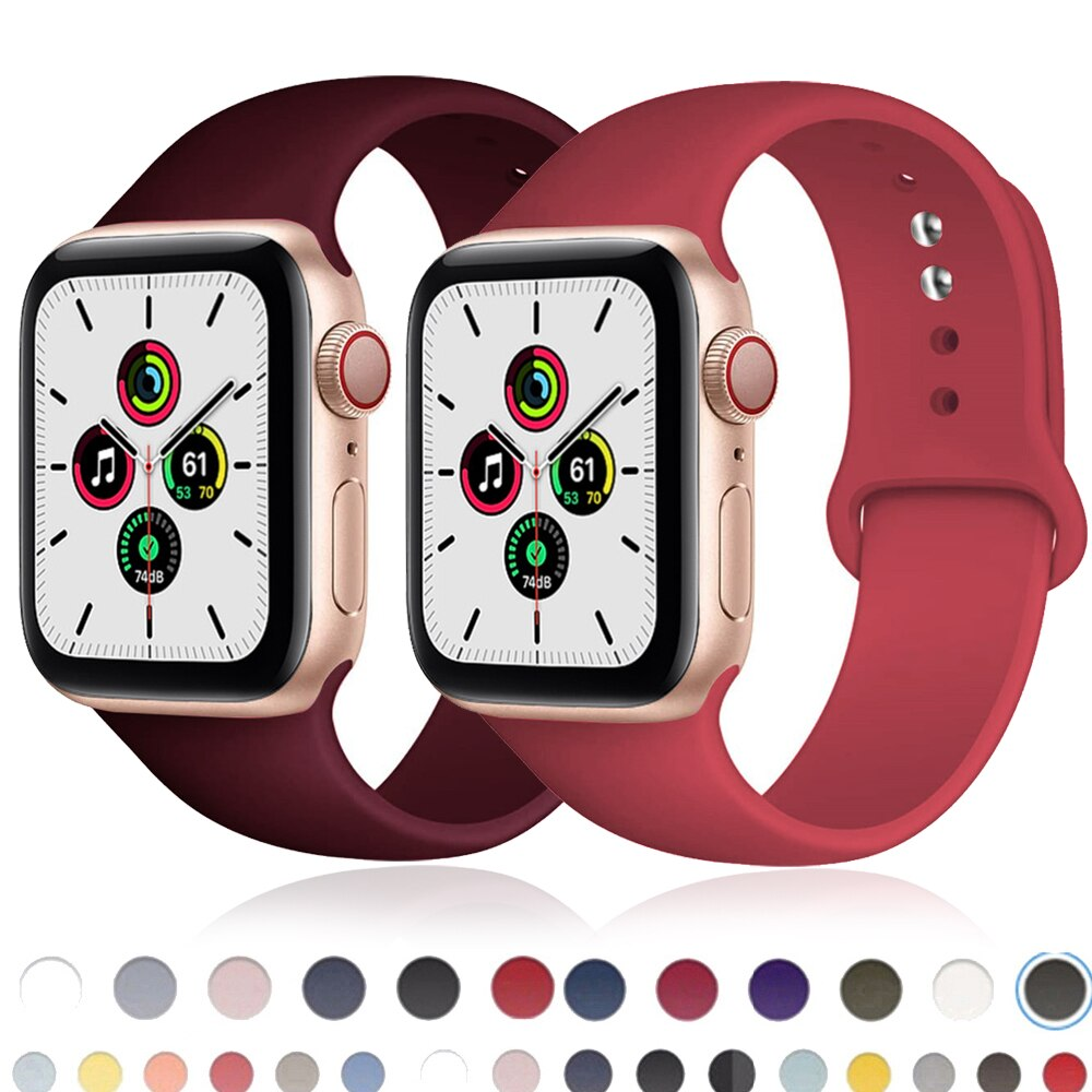metal strap for apple watch band 42mm 38mm watch band 44mm 40mm sport bracelet watchband for i watch 5 4 3 2 1 wristband belt Watchband For Apple Watch band 44mm 40mm series 6 SE 5 4 3 iWatch BAND 42mm 38mm Sport Slicone belt bracelet Apple watch Strap