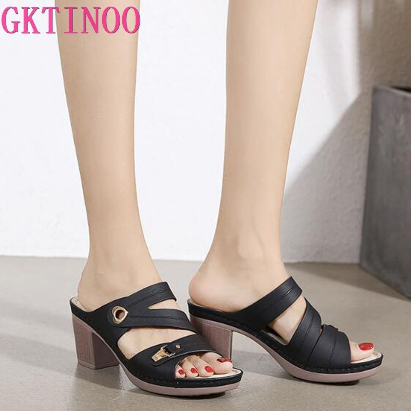 GKTINOO المرأة النعال الصنادل 2021 الصيف 8 سنتيمتر عالية الكعب النساء أحذية امرأة النعال الصيف الصنادل أحذية أنيقة