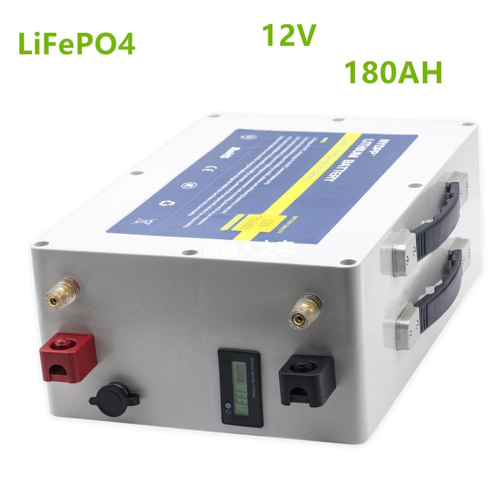 Paquete de batería Lifepo4 12V 180ah 12V lifepo4 180AH batería de litio con cargador 20A para inversor, Sistema solar, motor de barco