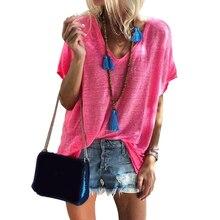 Al aire libre suelta diaria cuello pico Cool manga corta Casual sólido mujer camiseta camisa con mezcla de algodón Soft Shopping Street atractivo verano