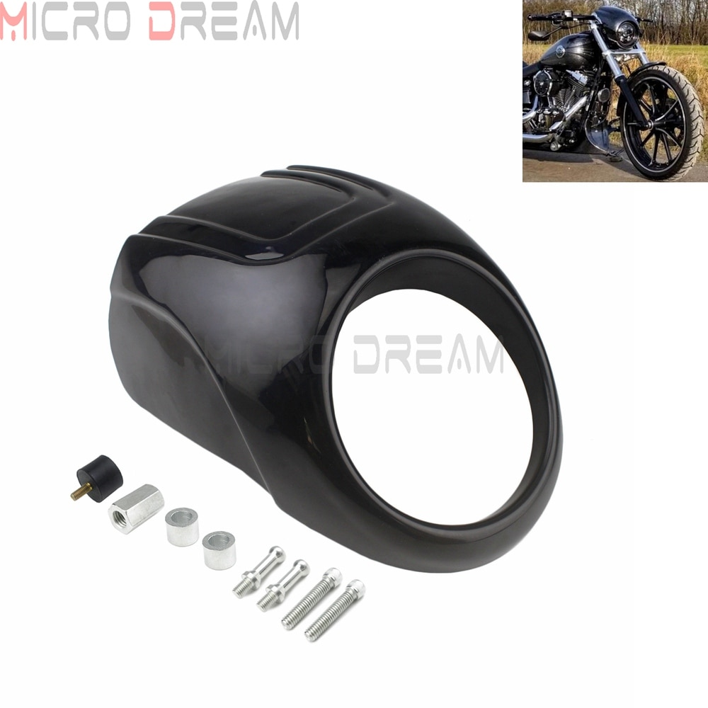 "Motocicleta 5-3/4 ""faro delantero máscara carenado frontal capucha Visor w/39mm tenedor para Harley Sportster Dyna XL 883/1200 XL883 XL1200 1973-UP"