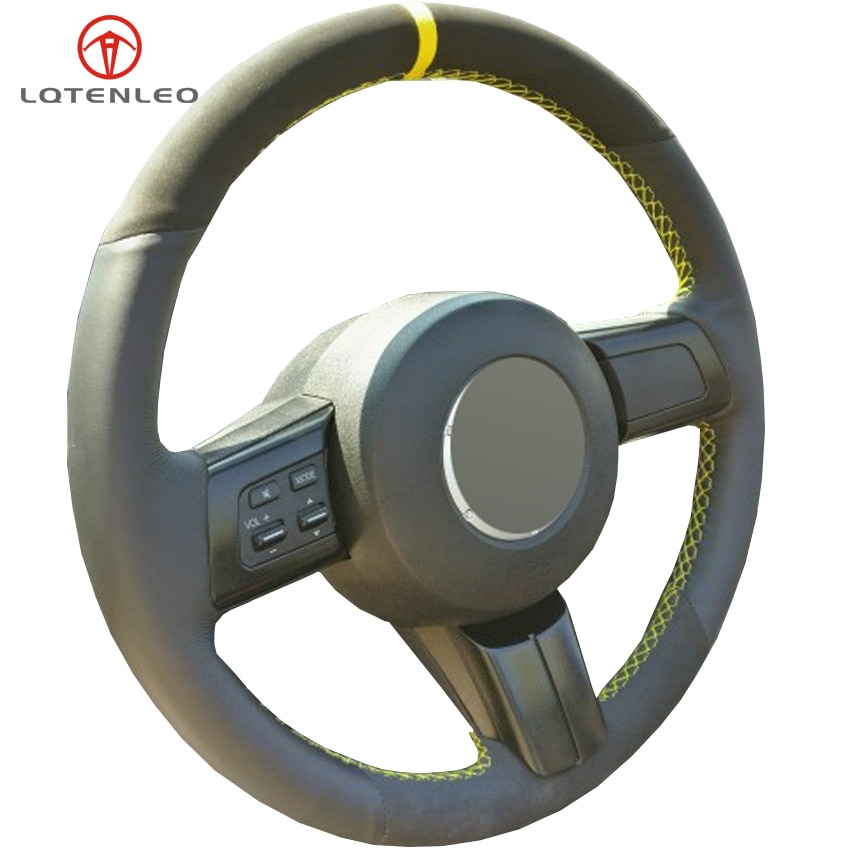 LQTENLEO черная замша натуральная кожа DIY чехол рулевого колеса автомобиля для Mazda MX-5 2009-2014 RX-8 2008-2013 CX-7 CX7 2007-2009