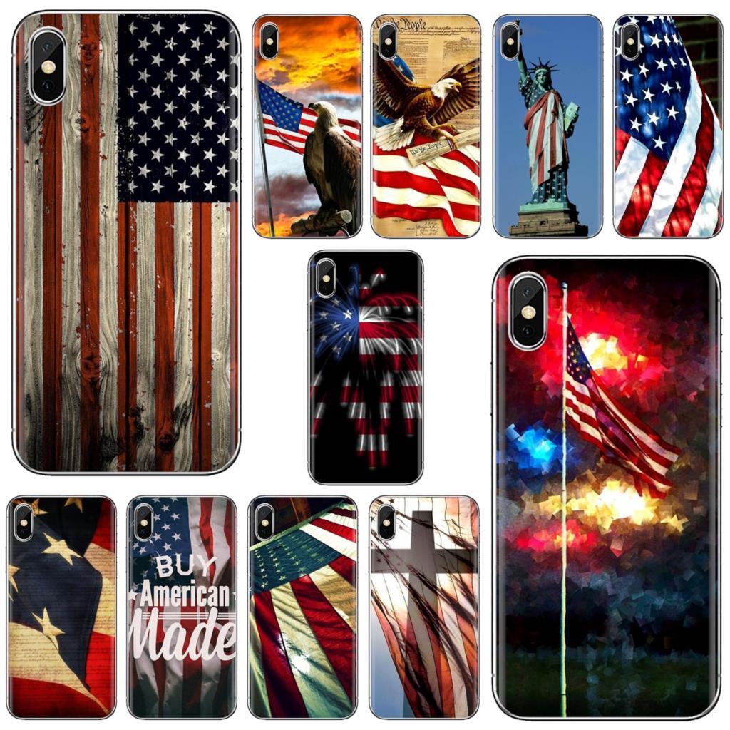 Para Xiaomi Redmi 2 S2 3 3S 4 4A 5 5A 5 6 6A 7A 9 9T 9C 9A Pro Pocophone F1 Americana Da Bandeira DOS EUA América Bandeira Macio TPU Capa
