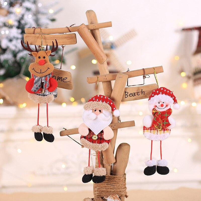 1 pçs bonito papai noel boneco de neve veados árvore de natal pingentes pendurado ornamentos ano novo decoração de natal decoração de festa em casa 62847