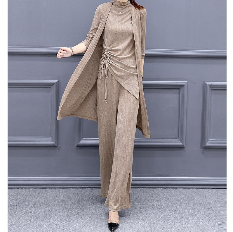 Женский трикотажный спортивный костюм из 3 предметов, Кардиган с длинным рукавом, пуловер и брюки с широкими штанинами, коричневый элегантн...