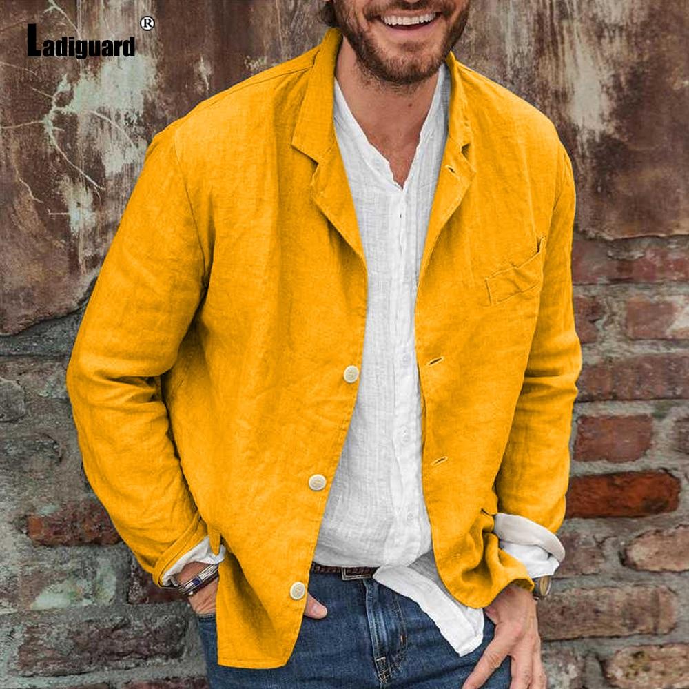 Стильная мужская повседневная рубашка Ladiguard, блузы, Сексуальная мужская одежда, 2021 однобортные топы, уличная одежда, осенняя модная мужская ...