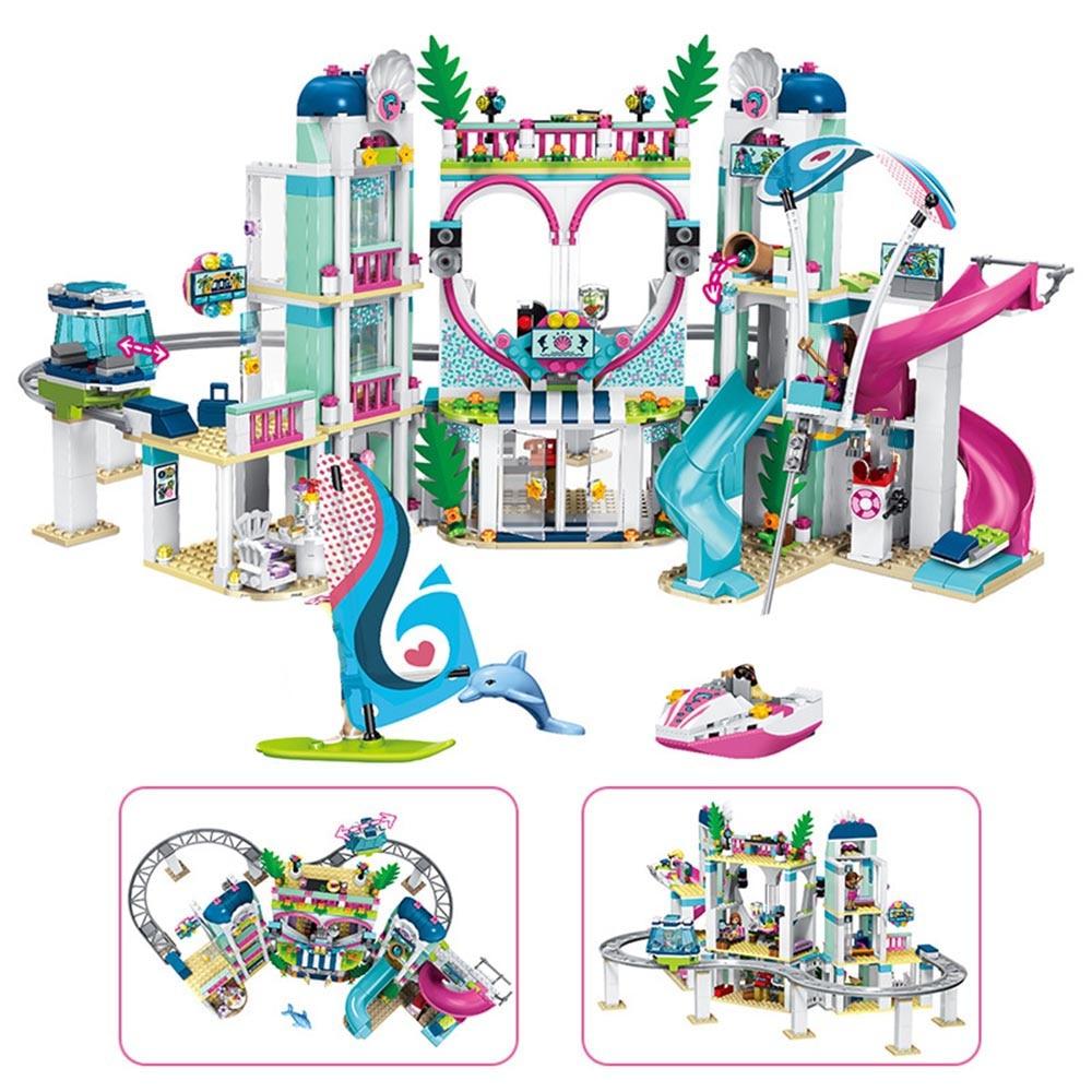 2019 Lele Friends 1039Pcs The Heart lake City Resort Model Lepining Friends 41347 Building Block Bricks Toys For Children